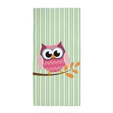 Cute Pink Chevron Owl 1 Beach Towel