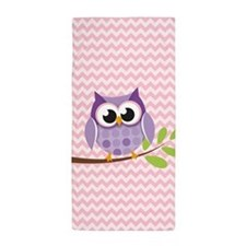 Cute Purple Owl on Pink Chevron Pattern 1 Beach To