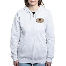Retro Owl On Swirly Branch Women'S Zip Hoodie