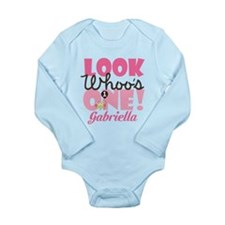 1st Birthday Girl Owl Personalized Body Suit