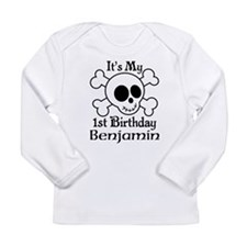 Skull 1st Birthday Personalized Long Sleeve T-Shir