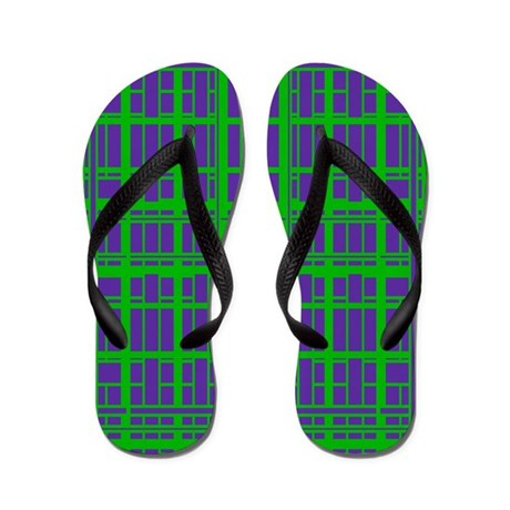 Bright Modern Green Blue Pattern Flip Flops