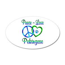Peace Love Pekingese 20x12 Oval Wall Decal