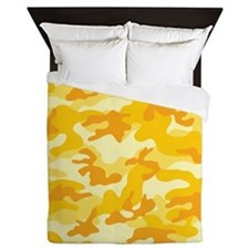 Golden Yellow Camo; Camouflage 3 Queen Duvet