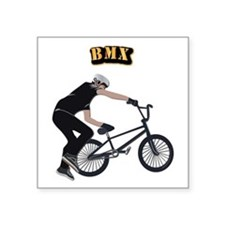 "BMX With Text Square Sticker 3"" x 3"""