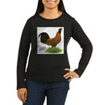 Gold Brabanter Rooster Women's Long Sleeve Dark T-