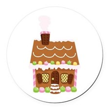 Gingerbread House Round Car Magnet