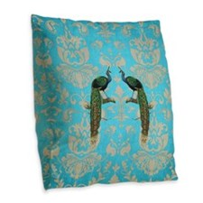 Vintage Peacock Antiqued Damas Burlap Throw Pillow