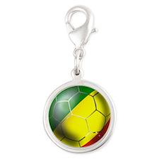 Congo Republic Football Silver Round Charm