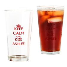 Keep Calm and Kiss Ashlee Drinking Glass