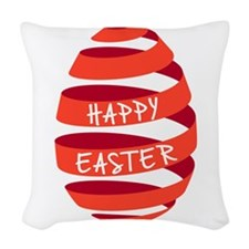 Happy Easter, red ribbon egg Woven Throw Pillow