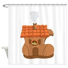 Old Woman Shoe House Shower Curtain