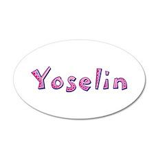 Yoselin Pink Giraffe 20x12 Oval Wall Decal