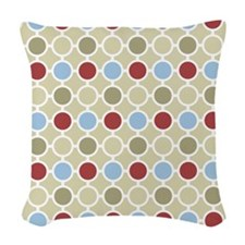 Beige Red Blue Circles Pattern Woven Throw Pillow
