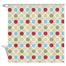 Beige Red Blue Circles Pattern Shower Curtain