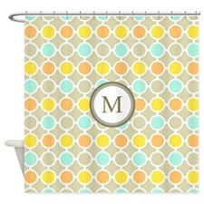 Yellow Orange Aqua Circles Monogram Shower Curtain