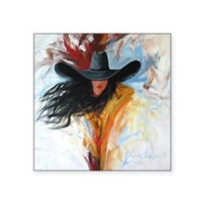 "Western Cowgirl Square Sticker 3"" x 3"""