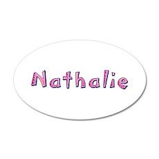 Nathalie Pink Giraffe 35x21 Oval Wall Decal