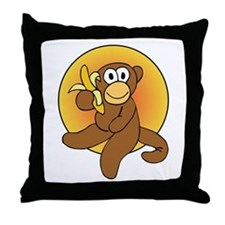Banana Monkey Throw Pillow