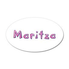 Maritza Pink Giraffe 35x21 Oval Wall Decal