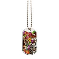 Tigers and Flowers, Beautiful Jungle Artw Dog Tags