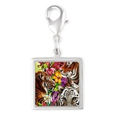 Tigers and Flowers, Beautiful Silver Square Charm