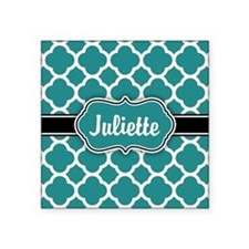 Moroccan Quatrefoil Teal White Pattern Sticker