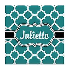 Moroccan Quatrefoil Teal White Pattern Tile Coaste