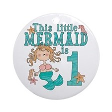 Mermaid First Birthday Ornament (Round)