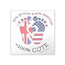 "British American Baby Square Sticker 3"" X 3"""