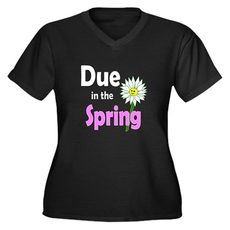 Due in Spring t-shirt Women's Plus Size V-Neck Dar