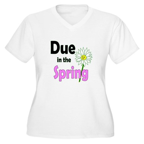 Due in Spring t-shirt Women's Plus Size V-Neck T-S