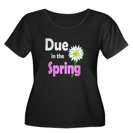 Due in Spring t-shirt Women's Plus Size Scoop Neck