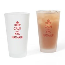 Keep Calm and Kiss Nathalie Drinking Glass