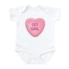 GO  GIRL candy heart Infant Bodysuit