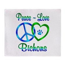 Peace Love Bichons Throw Blanket
