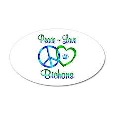 Peace Love Bichons 20x12 Oval Wall Decal