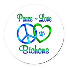 Peace Love Bichons Round Car Magnet