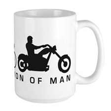 evolution of man motorcycle rider chopper Mugs