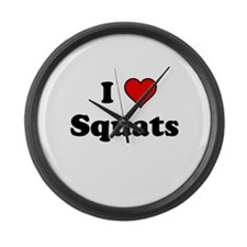 I Heart Squats Large Wall Clock