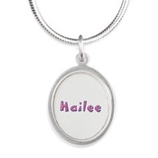 Hailee Pink Giraffe Silver Oval Necklace