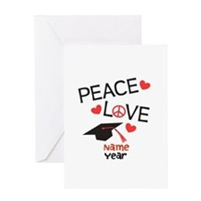 Customize Peace Love Grad Greeting Card