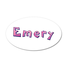 Emery Pink Giraffe 35x21 Oval Wall Decal