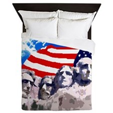 Mount Rushmore with American Flag Queen Duvet