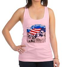 Mount Rushmore with American Fl Racerback Tank Top