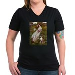 Windflowers & Boxer Women's V-Neck Dark T-Shirt