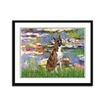 Lilies & Brindle Boxer Framed Panel Print