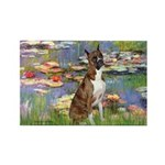 Lilies & Brindle Boxer Rectangle Magnet