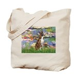 Lilies & Brindle Boxer Tote Bag