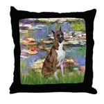 Lilies & Brindle Boxer Throw Pillow